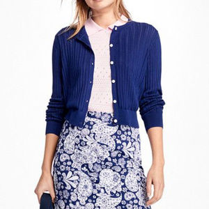 NWT Blue Pointelle Cropped Cotton Cardigan